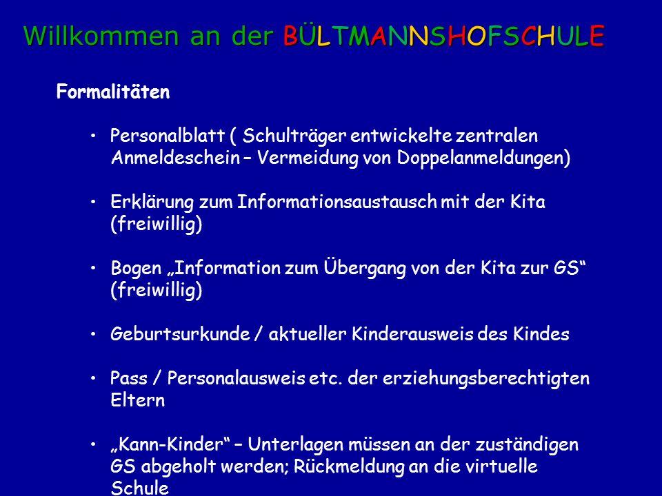 Formalitäten Personalblatt ( Schulträger entwickelte zentralen Anmeldeschein – Vermeidung von Doppelanmeldungen) Erklärung zum Informationsaustausch m