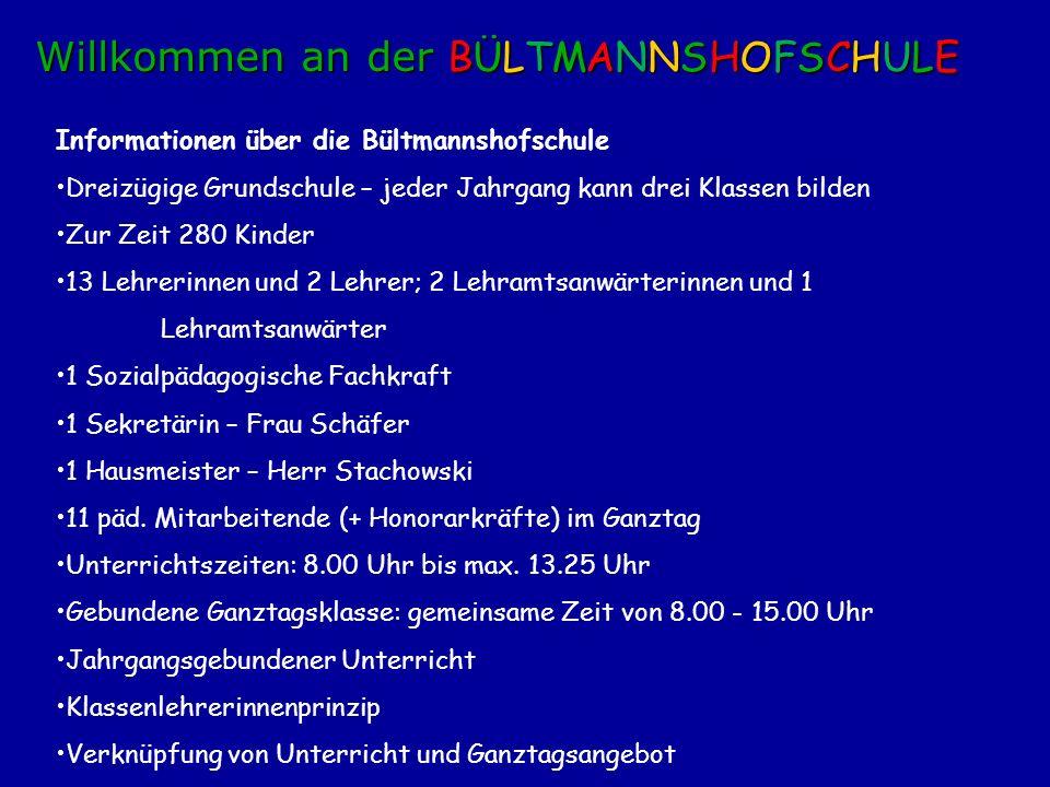 Informationen über die Bültmannshofschule Dreizügige Grundschule – jeder Jahrgang kann drei Klassen bilden Zur Zeit 280 Kinder 13 Lehrerinnen und 2 Le