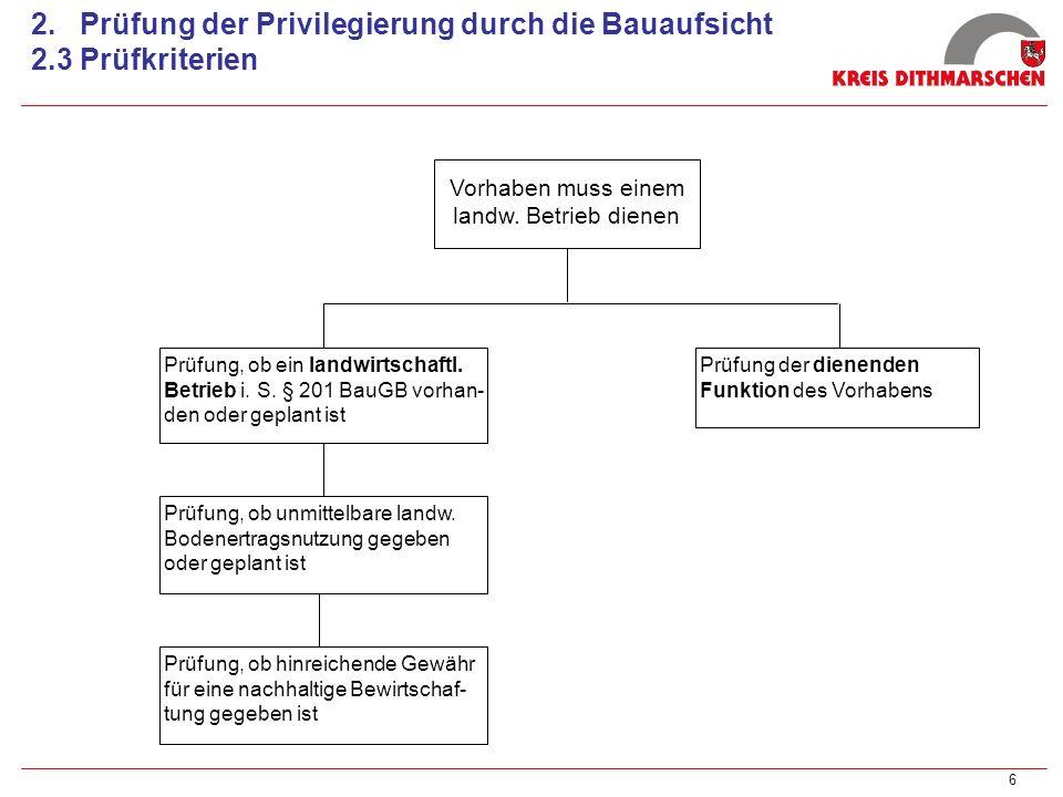 6 2. Prüfung der Privilegierung durch die Bauaufsicht 2.3 Prüfkriterien Vorhaben muss einem landw. Betrieb dienen Prüfung, ob ein landwirtschaftl. Bet