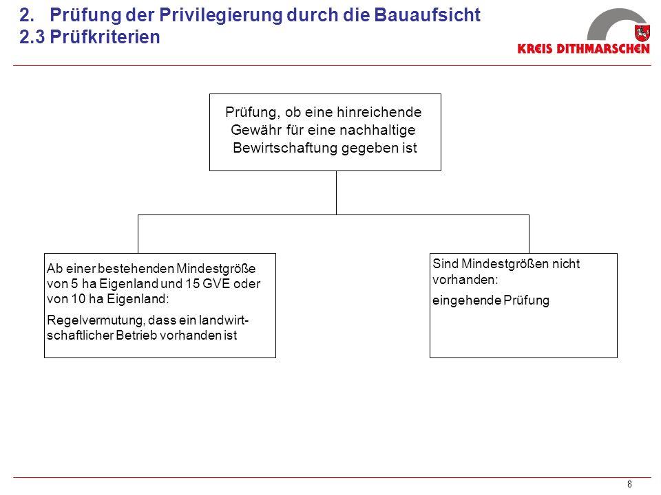 8 2. Prüfung der Privilegierung durch die Bauaufsicht 2.3 Prüfkriterien Prüfung, ob eine hinreichende Gewähr für eine nachhaltige Bewirtschaftung gege