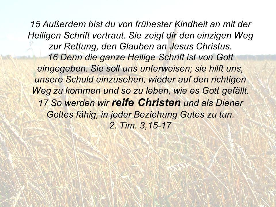 15 Außerdem bist du von frühester Kindheit an mit der Heiligen Schrift vertraut. Sie zeigt dir den einzigen Weg zur Rettung, den Glauben an Jesus Chri