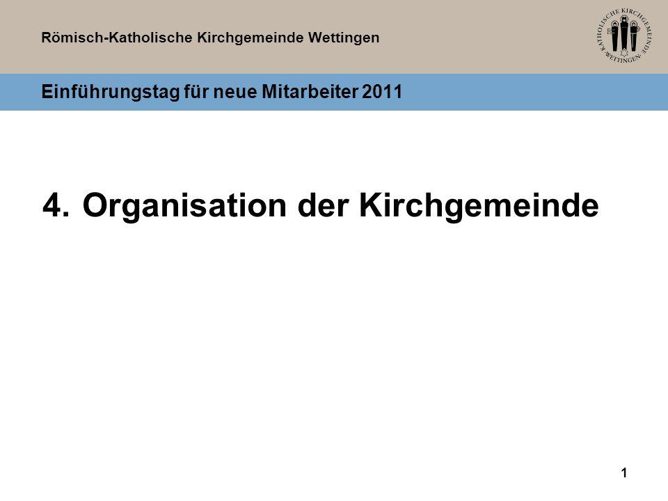 Römisch-Katholische Kirchgemeinde Wettingen 1 Einführungstag für neue Mitarbeiter 2011 4.Organisation der Kirchgemeinde