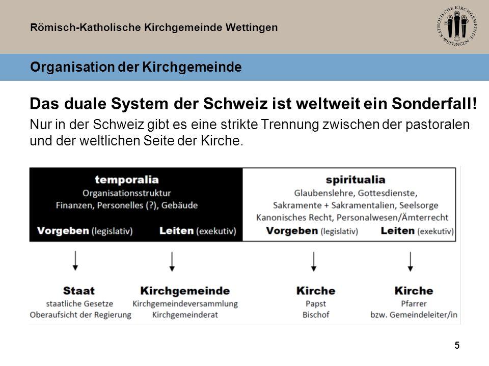 Römisch-Katholische Kirchgemeinde Wettingen Organisation der Kirchgemeinde Das duale System der Schweiz ist weltweit ein Sonderfall! Nur in der Schwei