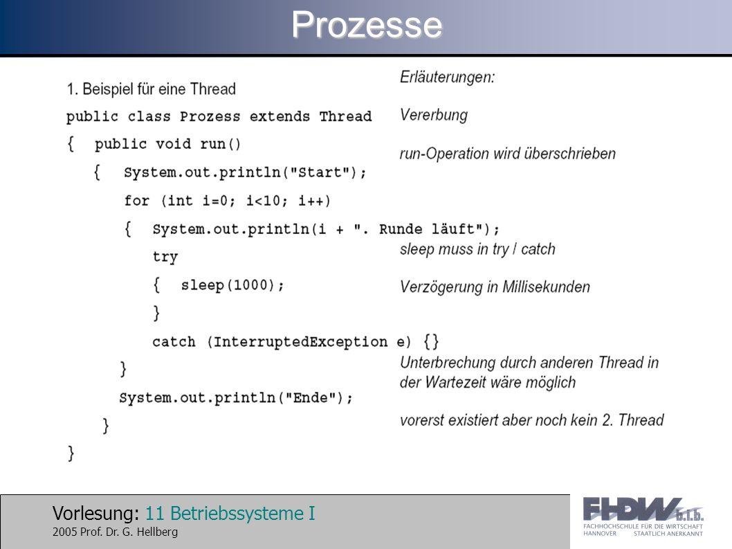 Vorlesung: 11 Betriebssysteme I 2005 Prof. Dr. G. HellbergProzesse