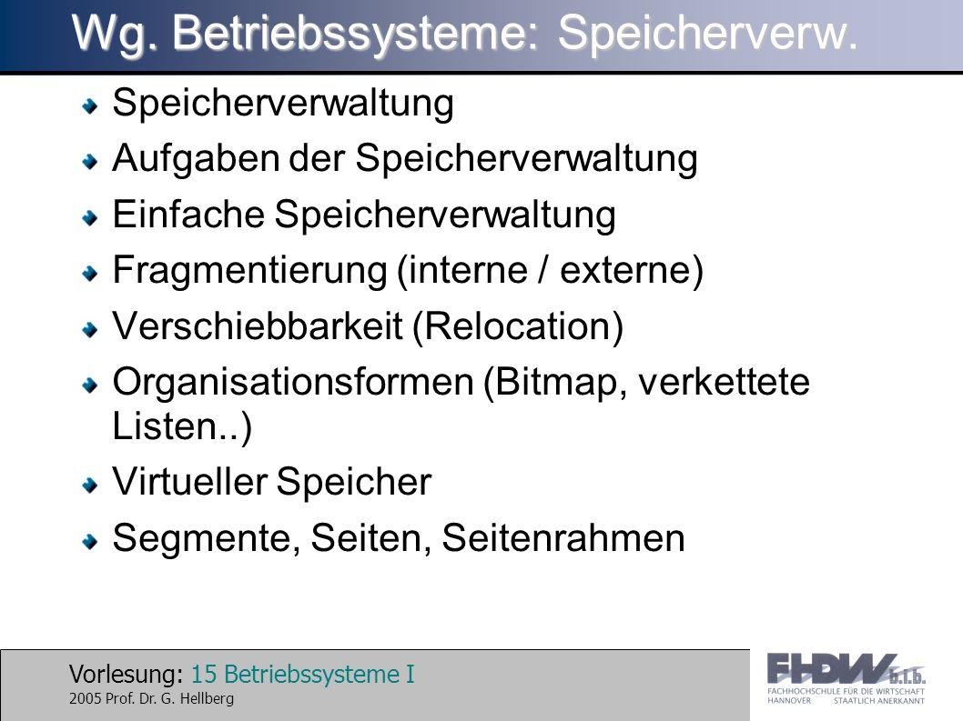 Vorlesung: 15 Betriebssysteme I 2005 Prof. Dr. G. Hellberg Wg. Betriebssysteme: Speicherverw. Speicherverwaltung Aufgaben der Speicherverwaltung Einfa