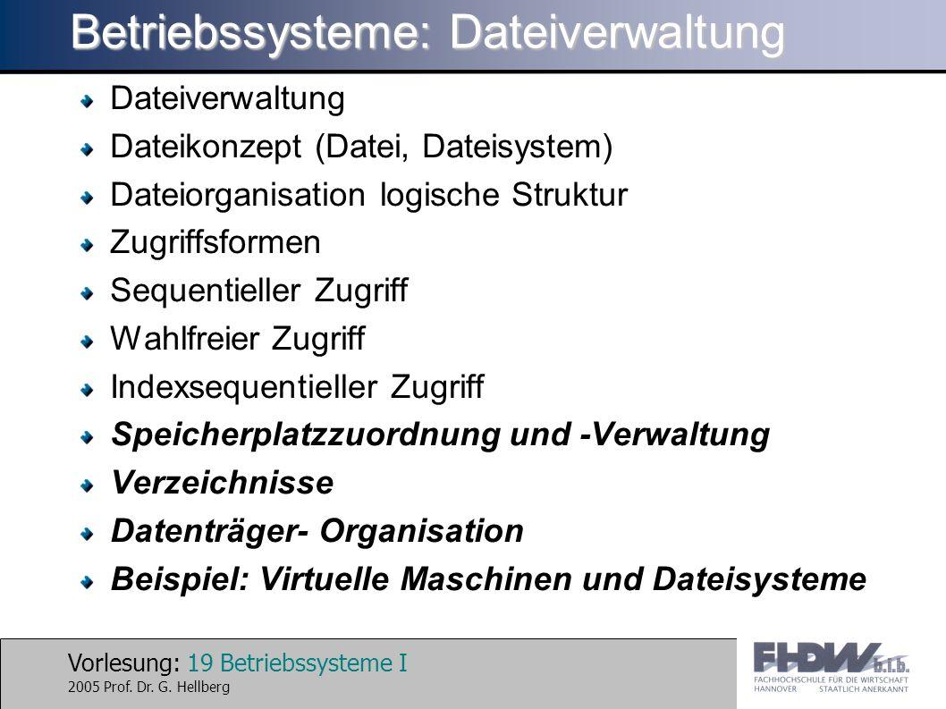 Vorlesung: 19 Betriebssysteme I 2005 Prof. Dr. G. Hellberg Betriebssysteme: Dateiverwaltung Dateiverwaltung Dateikonzept (Datei, Dateisystem) Dateiorg