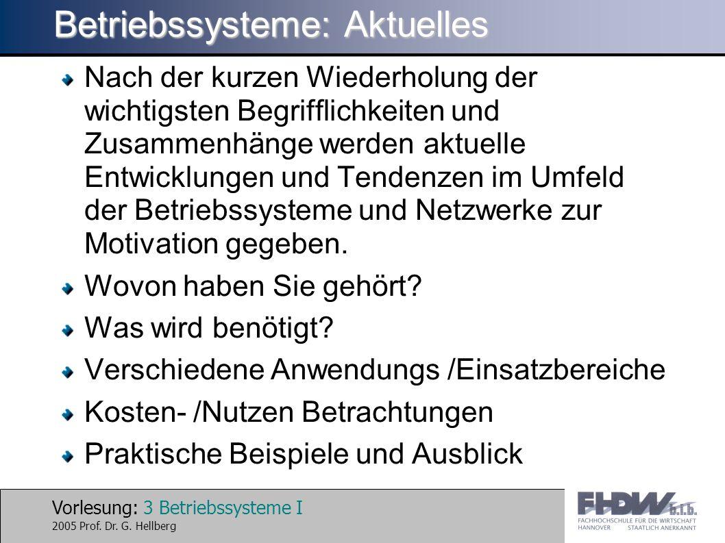 Vorlesung: 3 Betriebssysteme I 2005 Prof. Dr. G. Hellberg Betriebssysteme: Aktuelles Nach der kurzen Wiederholung der wichtigsten Begrifflichkeiten un