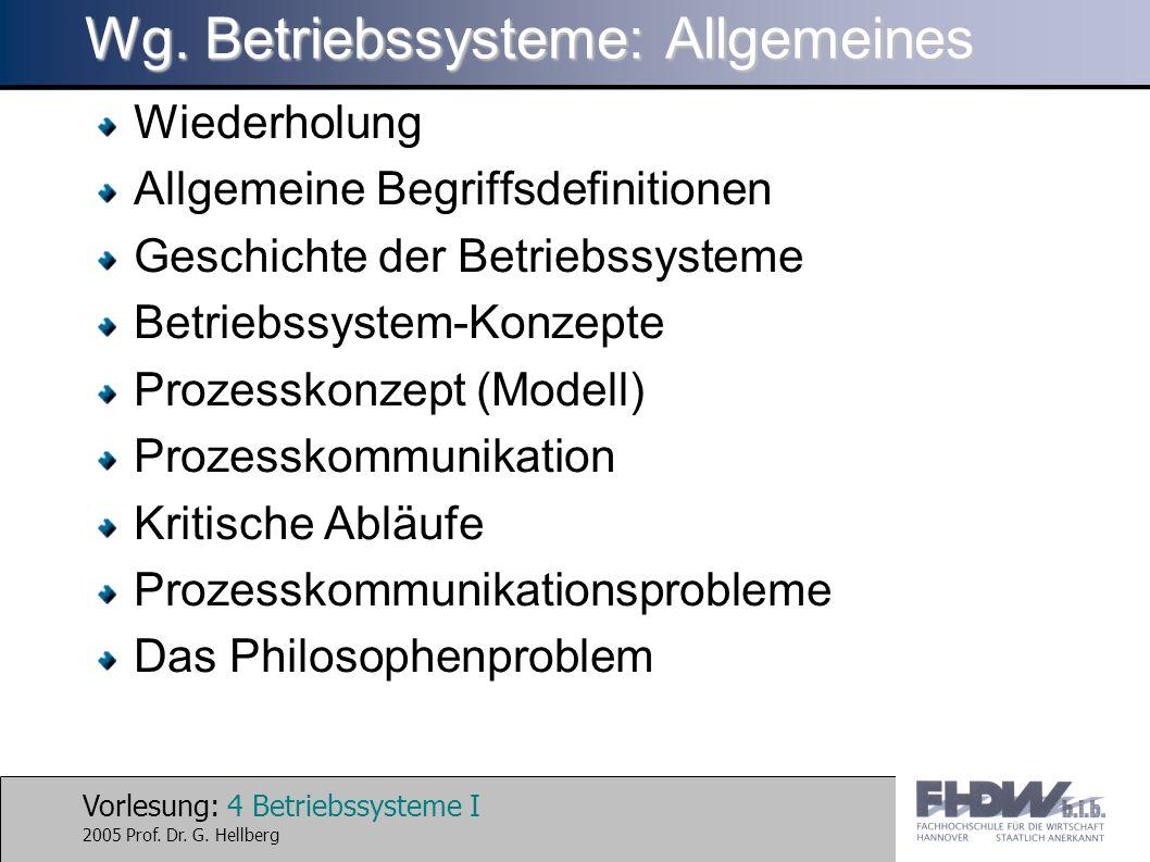 Vorlesung: 4 Betriebssysteme I 2005 Prof. Dr. G. Hellberg Wg. Betriebssysteme: Allgemeines Wiederholung Allgemeine Begriffsdefinitionen Geschichte der