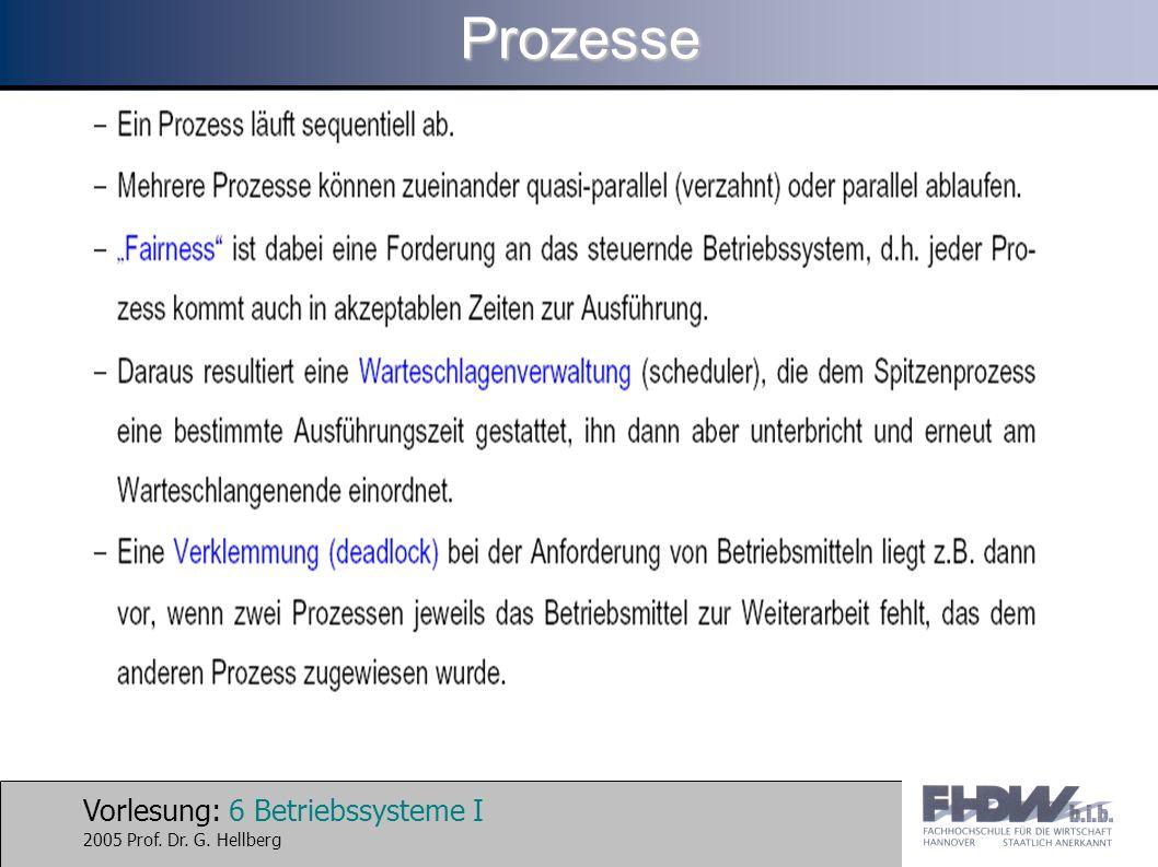 Vorlesung: 17 Betriebssysteme I 2005 Prof.Dr. G. Hellberg Wg.