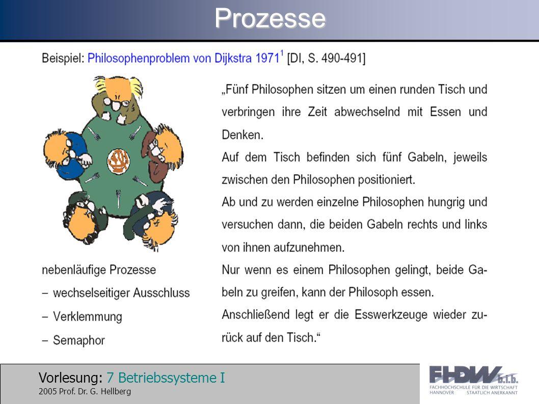 Vorlesung: 7 Betriebssysteme I 2005 Prof. Dr. G. HellbergProzesse