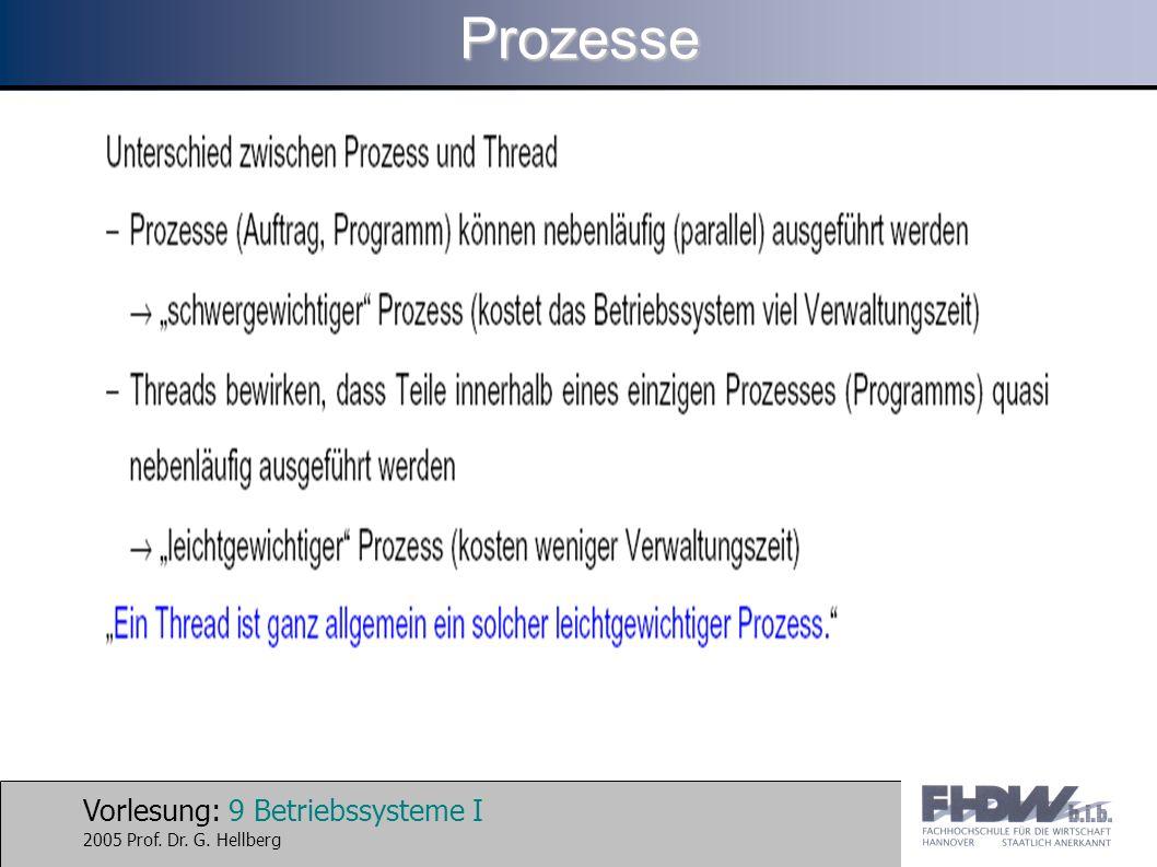 Vorlesung: 9 Betriebssysteme I 2005 Prof. Dr. G. HellbergProzesse
