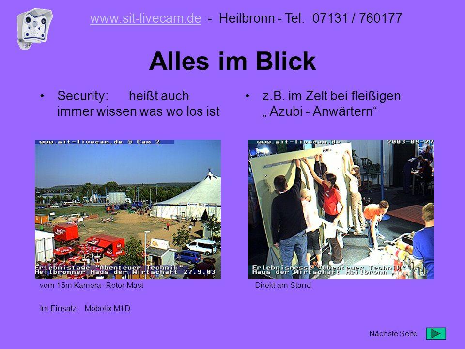 Belichtungskompromiss finden dafür sind die grünen Belichtungsfelder der Kamera eingeblendet www.sit-livecam.dewww.sit-livecam.de - Heilbronn - Tel.
