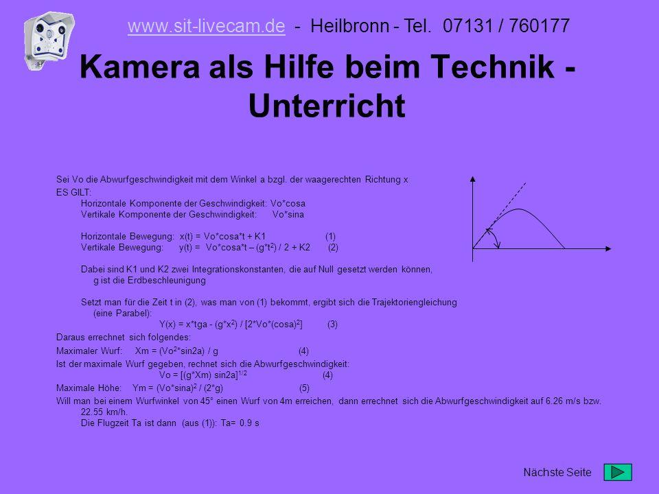 Eine Überwachungsstation für den ganzen Platz Mit unserem mobilen Kameramast entgeht Ihnen nichts Bildspeicher digital: in der Kamera bis 64 MB Extern auf Rechner vor Ort Ins Netzwerk Extern auf FTP Server per GSM / GPRS Funk Alarmmeldung per Telefon Im Einsatz: Mobotix M1D www.sit-livecam.dewww.sit-livecam.de - Heilbronn - Tel.