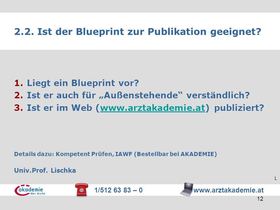 1/512 63 83 – 0 www.arztakademie.at 12 2.2. Ist der Blueprint zur Publikation geeignet? 1.Liegt ein Blueprint vor? 2.Ist er auch für Außenstehende ver