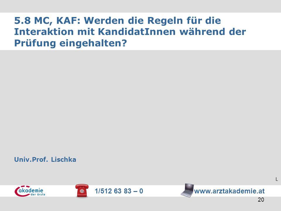 1/512 63 83 – 0 www.arztakademie.at 20 5.8 MC, KAF: Werden die Regeln für die Interaktion mit KandidatInnen während der Prüfung eingehalten? Univ.Prof