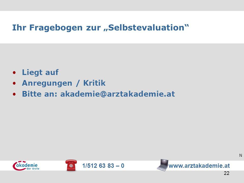 1/512 63 83 – 0 www.arztakademie.at 22 Ihr Fragebogen zur Selbstevaluation Liegt auf Anregungen / Kritik Bitte an: akademie@arztakademie.at N