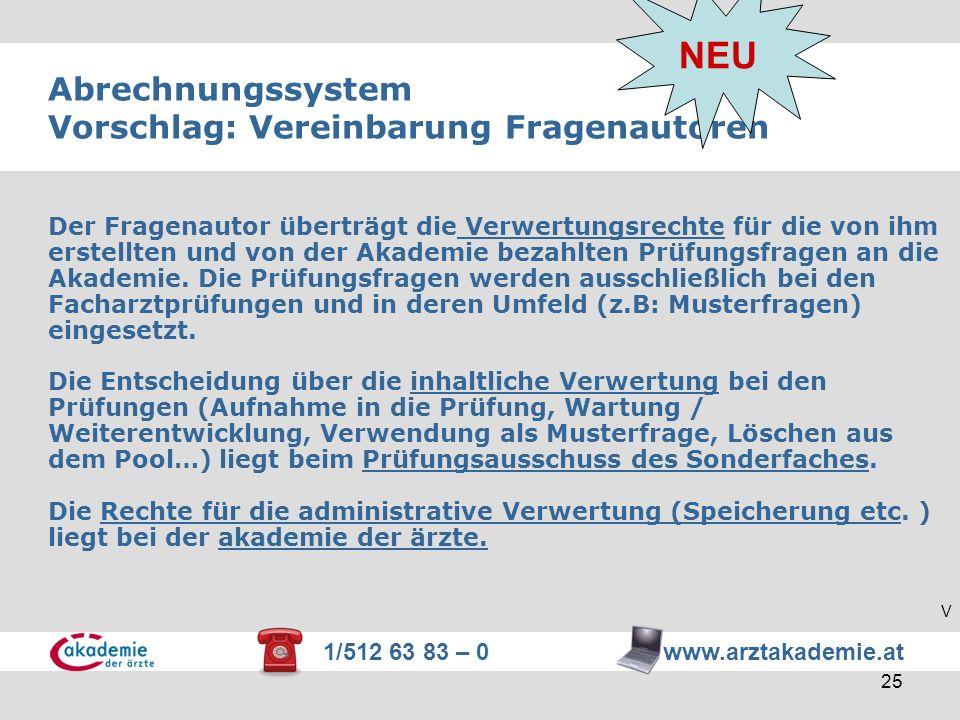 1/512 63 83 – 0 www.arztakademie.at 25 Abrechnungssystem Vorschlag: Vereinbarung Fragenautoren Der Fragenautor überträgt die Verwertungsrechte für die