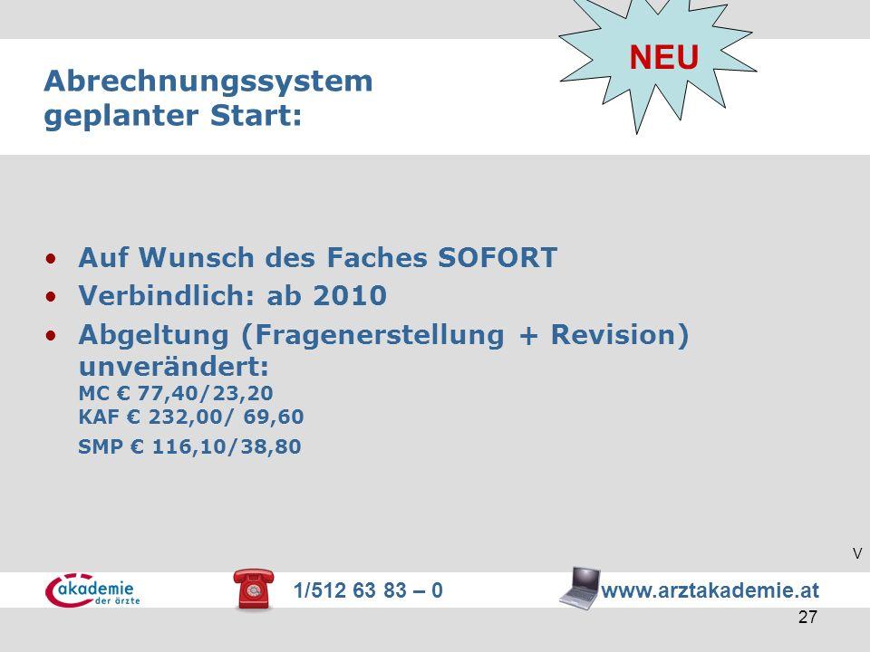 1/512 63 83 – 0 www.arztakademie.at 27 Abrechnungssystem geplanter Start: NEU Auf Wunsch des Faches SOFORT Verbindlich: ab 2010 Abgeltung (Fragenerste