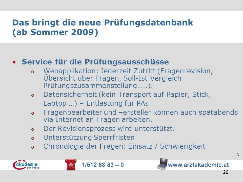 1/512 63 83 – 0 www.arztakademie.at 29 Das bringt die neue Prüfungsdatenbank (ab Sommer 2009) Service für die Prüfungsausschüsse o Webapplikation: Jed