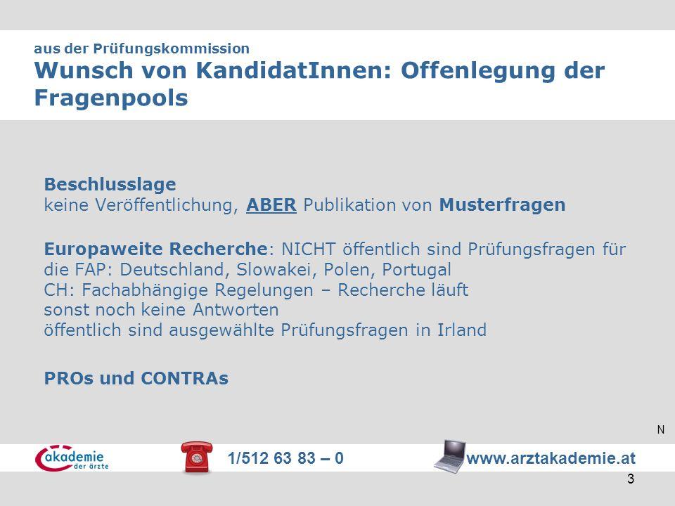 1/512 63 83 – 0 www.arztakademie.at 3 aus der Prüfungskommission Wunsch von KandidatInnen: Offenlegung der Fragenpools Beschlusslage keine Veröffentli