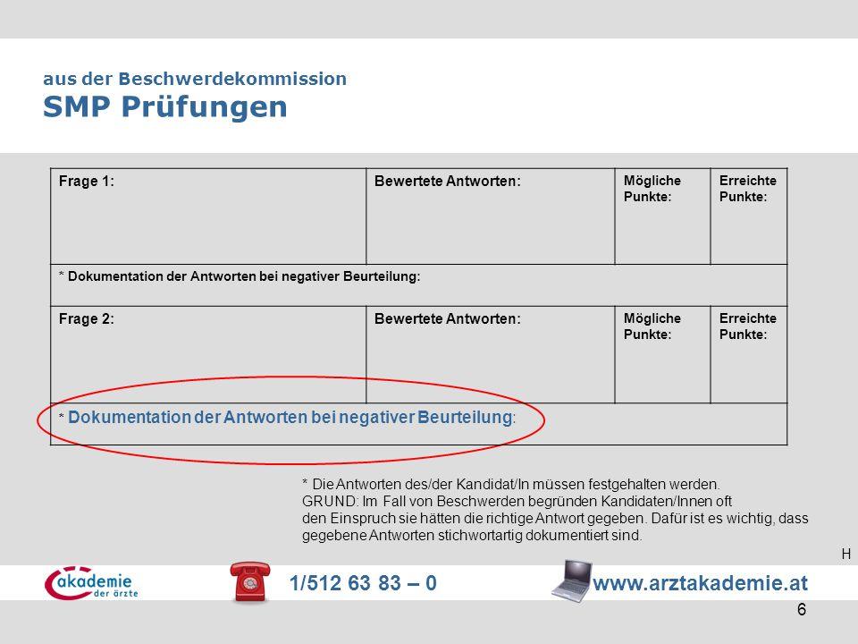 1/512 63 83 – 0 www.arztakademie.at 6 aus der Beschwerdekommission SMP Prüfungen * Die Antworten des/der Kandidat/In müssen festgehalten werden. GRUND
