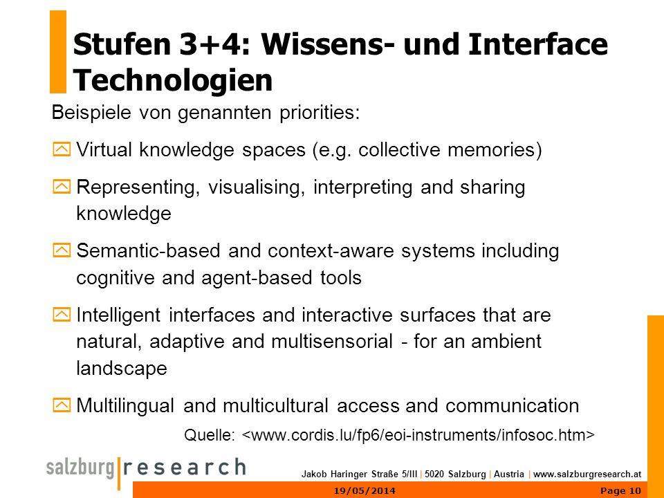 Page 1019/05/2014 Jakob Haringer Straße 5/III | 5020 Salzburg | Austria | www.salzburgresearch.at Stufen 3+4: Wissens- und Interface Technologien Beispiele von genannten priorities: yVirtual knowledge spaces (e.g.