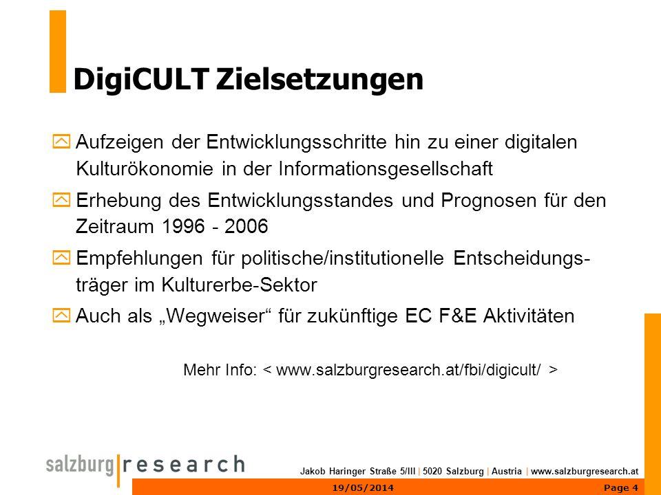 Page 519/05/2014 Jakob Haringer Straße 5/III | 5020 Salzburg | Austria | www.salzburgresearch.at DigiCULT 4-Stufen-Modell 1234 Grafik: © Salzburg Research, 2001