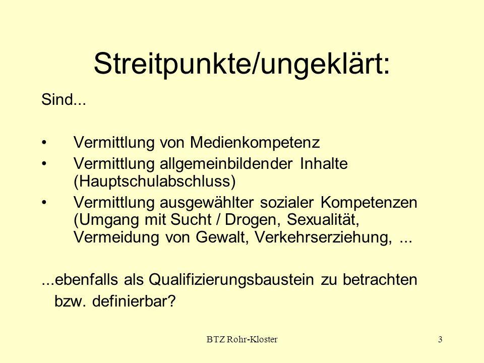 BTZ Rohr-Kloster4 Problem - (noch) fehlende verbindliche Standards: Was ist ein QB.