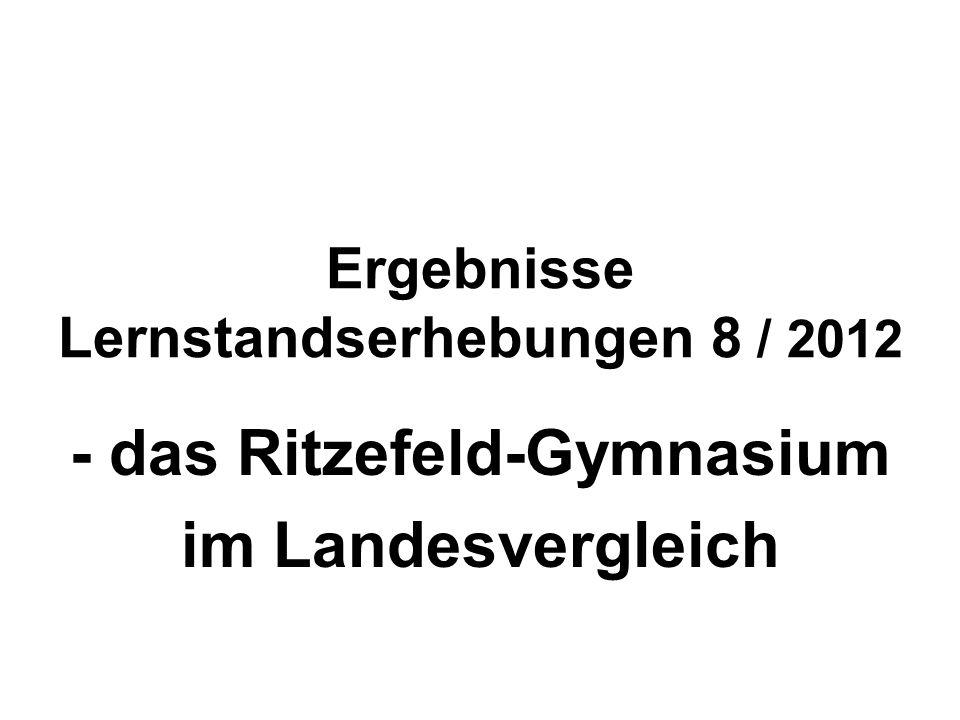 Ergebnisse Lernstandserhebungen 8 / 2012 - das Ritzefeld-Gymnasium im Landesvergleich