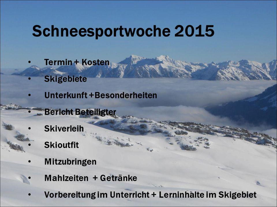 Termin + Kosten Skigebiete Unterkunft +Besonderheiten Bericht Beteiligter Skiverleih Skioutfit Mitzubringen Mahlzeiten + Getränke Vorbereitung im Unte