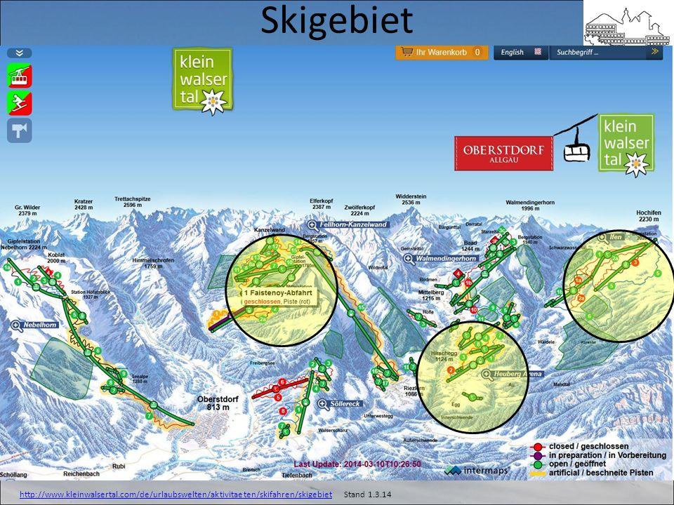 Skigebiet Heuberg Arena Kanzelwand Walmendinger Horn Ifen (voll schön! Kreutzer 2014) Opt. Nebelhorn http://www.kleinwalsertal.com/de/urlaubswelten/ak