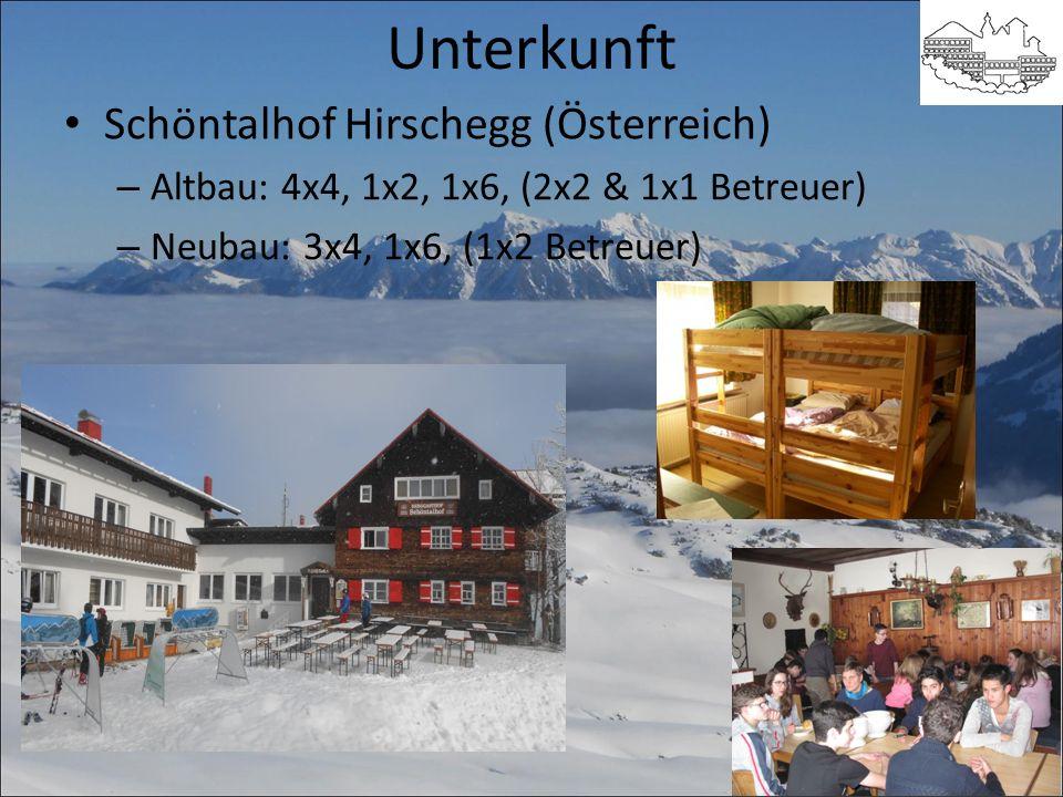 Unterkunft Schöntalhof Hirschegg (Österreich) – Altbau: 4x4, 1x2, 1x6, (2x2 & 1x1 Betreuer) – Neubau: 3x4, 1x6, (1x2 Betreuer)