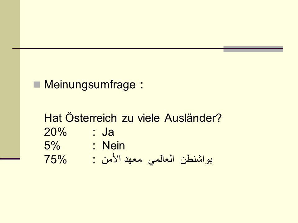 Meinungsumfrage : Hat Österreich zu viele Ausländer? 20% : Ja 5% : Nein 75% : معهد الأمن العالمي بواشنطن