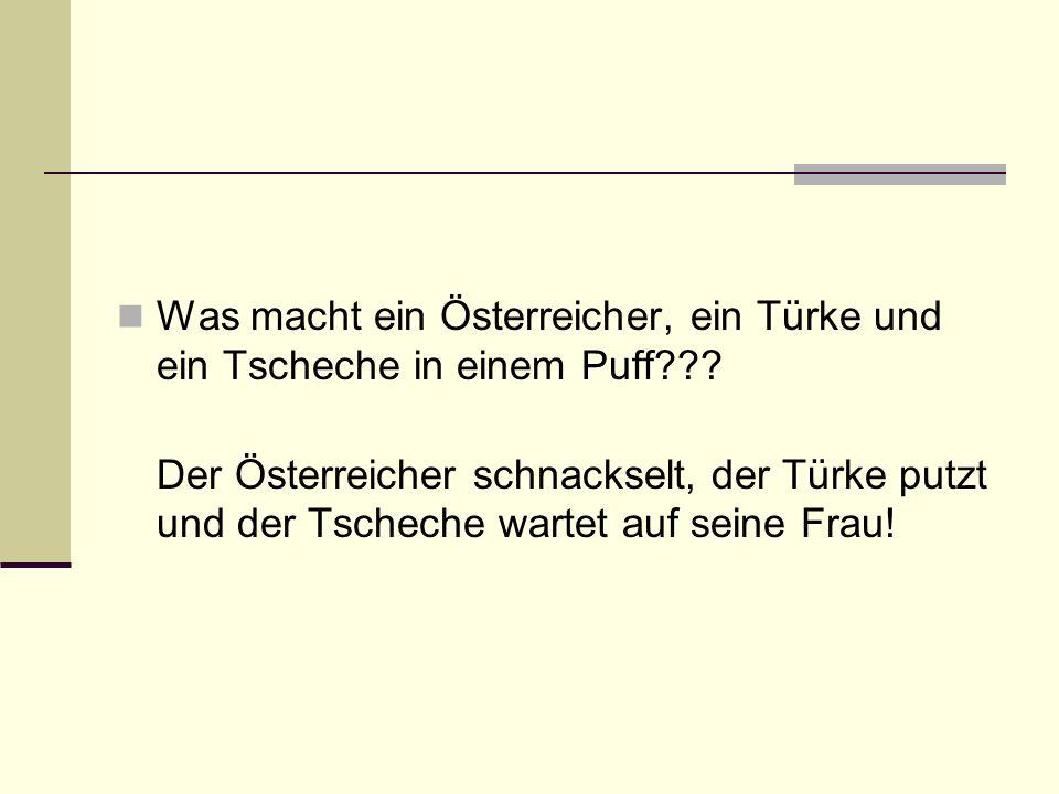 Was macht ein Österreicher, ein Türke und ein Tscheche in einem Puff??? Der Österreicher schnackselt, der Türke putzt und der Tscheche wartet auf sein