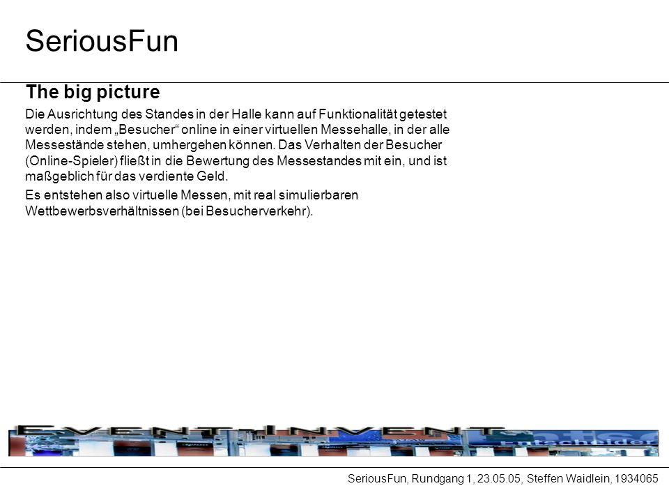 SeriousFun, Rundgang 1, 23.05.05, Steffen Waidlein, 1934065 SeriousFun The big picture Die Ausrichtung des Standes in der Halle kann auf Funktionalität getestet werden, indem Besucher online in einer virtuellen Messehalle, in der alle Messestände stehen, umhergehen können.