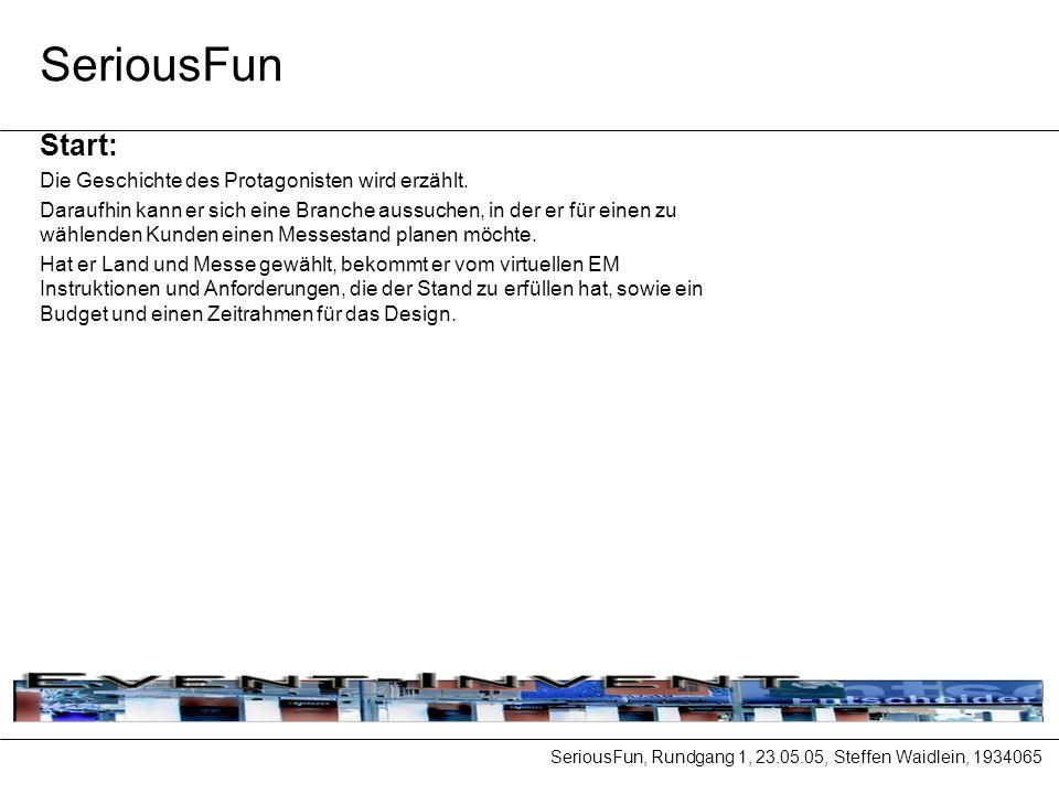 SeriousFun, Rundgang 1, 23.05.05, Steffen Waidlein, 1934065 SeriousFun Start: Die Geschichte des Protagonisten wird erzählt.