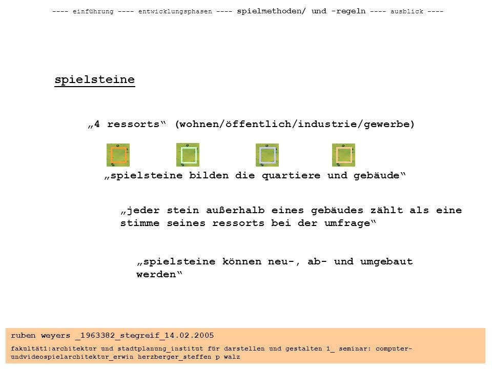 ruben weyers _1963382_stegreif_14.02.2005 fakultät1:architektur und stadtplanung_institut für darstellen und gestalten 1_ seminar: computer- undvideospielarchitektur_erwin herzberger_steffen p walz ---- einführung ---- entwicklungsphasen ---- spielmethoden/ und -regeln ---- ausblick ---- spielsteine 4 ressorts (wohnen/öffentlich/industrie/gewerbe) spielsteine bilden die quartiere und gebäude jeder stein außerhalb eines gebäudes zählt als eine stimme seines ressorts bei der umfrage spielsteine können neu-, ab- und umgebaut werden