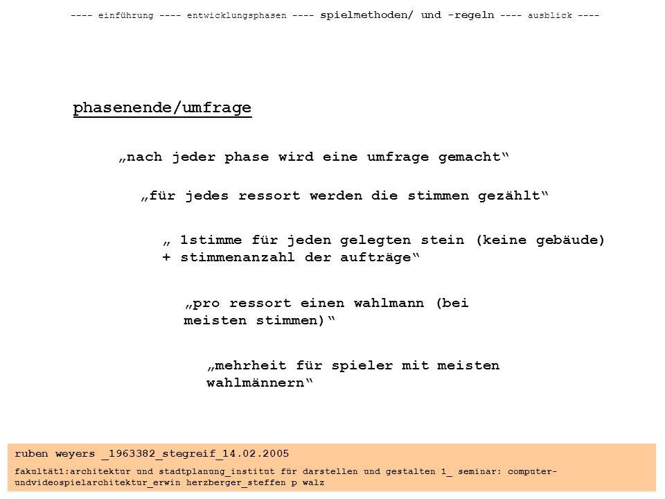 ruben weyers _1963382_stegreif_14.02.2005 fakultät1:architektur und stadtplanung_institut für darstellen und gestalten 1_ seminar: computer- undvideospielarchitektur_erwin herzberger_steffen p walz ---- einführung ---- entwicklungsphasen ---- spielmethoden/ und -regeln ---- ausblick ---- phasenende/umfrage nach jeder phase wird eine umfrage gemacht für jedes ressort werden die stimmen gezählt 1stimme für jeden gelegten stein (keine gebäude) + stimmenanzahl der aufträge pro ressort einen wahlmann (bei meisten stimmen) mehrheit für spieler mit meisten wahlmännern