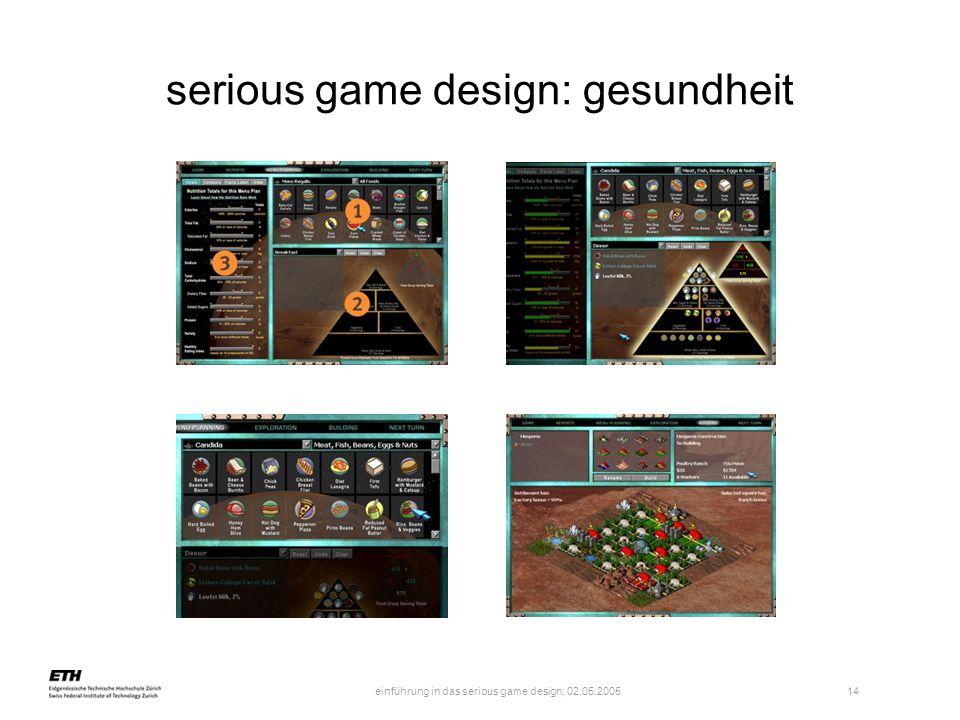 einführung in das serious game design, 02.05.2005 14 serious game design: gesundheit
