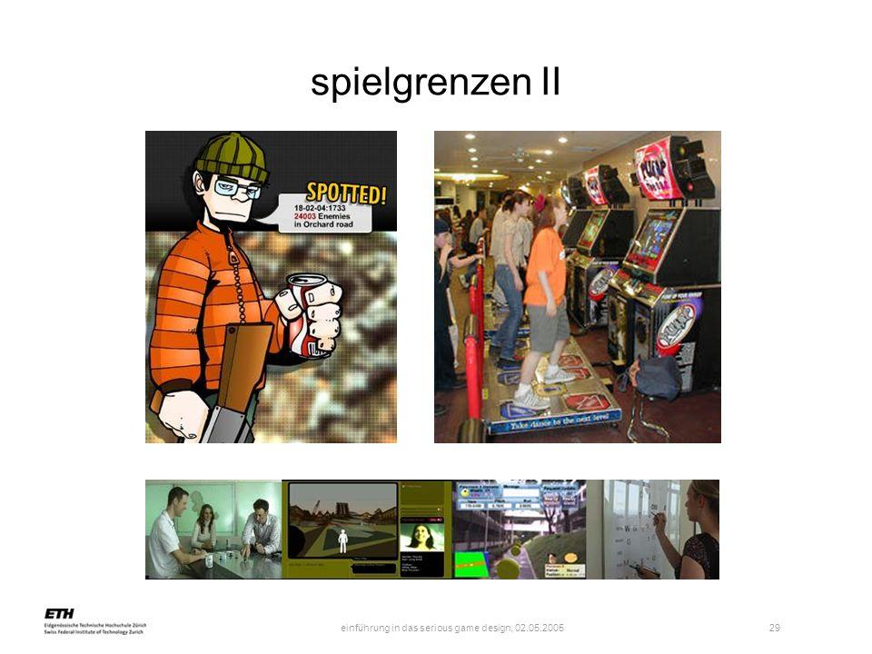 einführung in das serious game design, 02.05.2005 29 spielgrenzen II