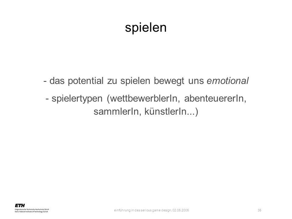 einführung in das serious game design, 02.05.2005 35 spielen - das potential zu spielen bewegt uns emotional - spielertypen (wettbewerblerIn, abenteue