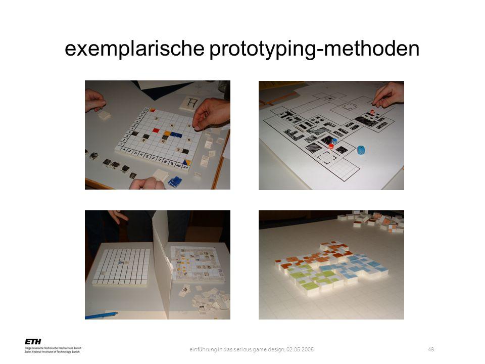 einführung in das serious game design, 02.05.2005 49 exemplarische prototyping-methoden