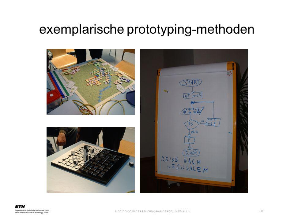 einführung in das serious game design, 02.05.2005 50 exemplarische prototyping-methoden