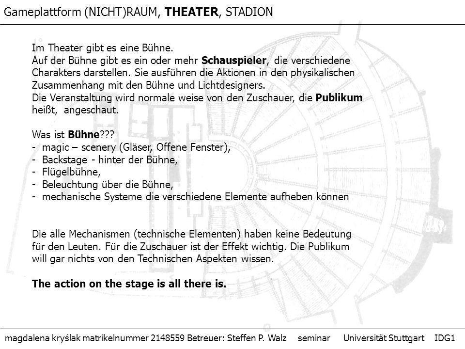 Im Theater gibt es eine Bühne. Auf der Bühne gibt es ein oder mehr Schauspieler, die verschiedene Charakters darstellen. Sie ausführen die Aktionen in