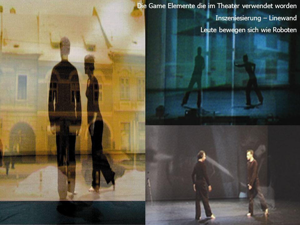Die Game Elemente die im Theater verwendet worden Inszeniesierung – Linewand Leute bewegen sich wie Roboten