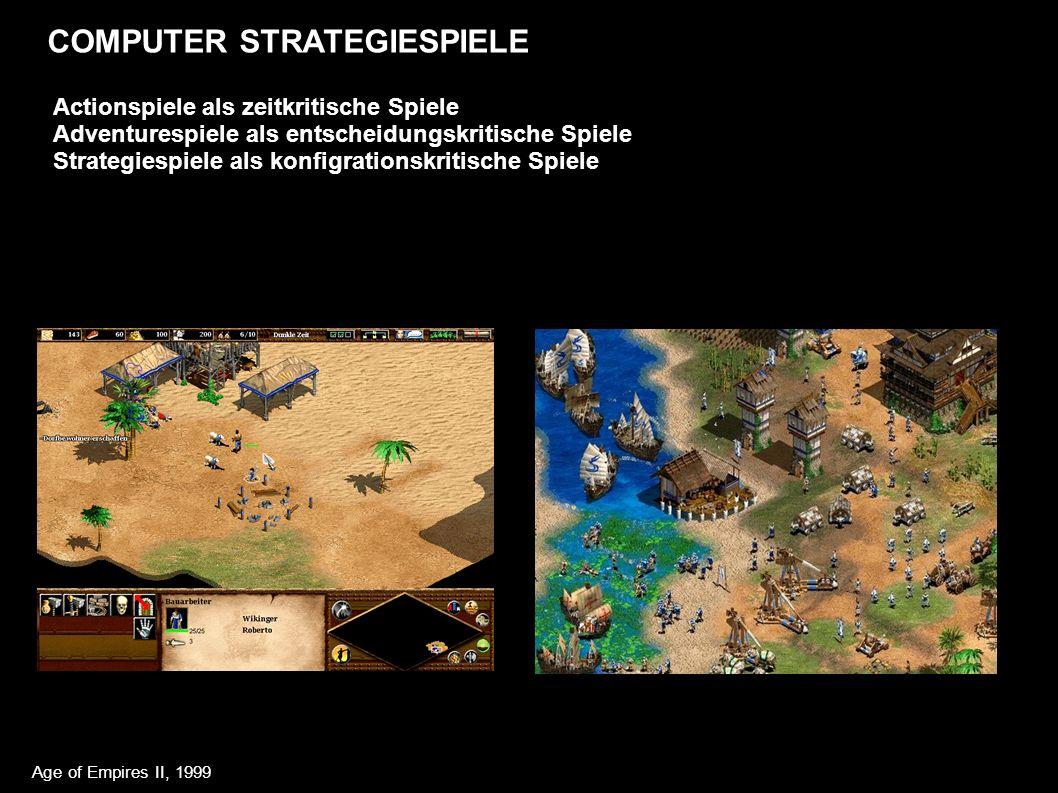 COMPUTER STRATEGIESPIELE Actionspiele als zeitkritische Spiele Adventurespiele als entscheidungskritische Spiele Strategiespiele als konfigrationskritische Spiele Age of Empires II, 1999