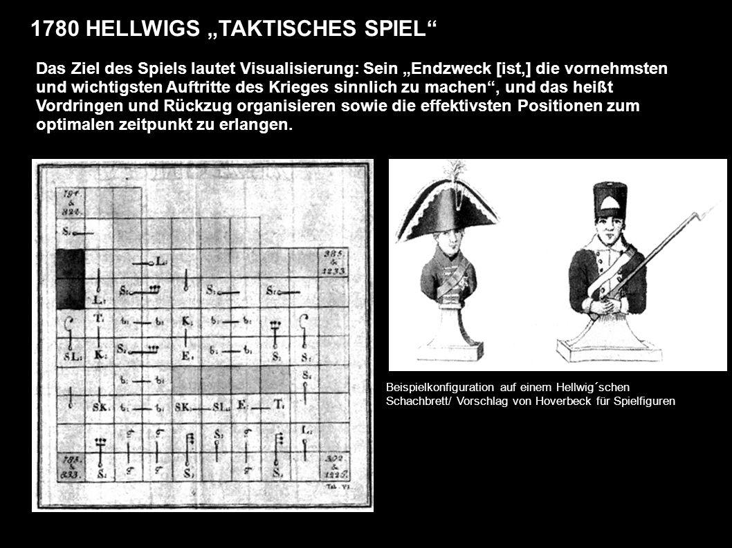 1780 HELLWIGS TAKTISCHES SPIEL Das Ziel des Spiels lautet Visualisierung: Sein Endzweck [ist,] die vornehmsten und wichtigsten Auftritte des Krieges sinnlich zu machen, und das heißt Vordringen und Rückzug organisieren sowie die effektivsten Positionen zum optimalen zeitpunkt zu erlangen.