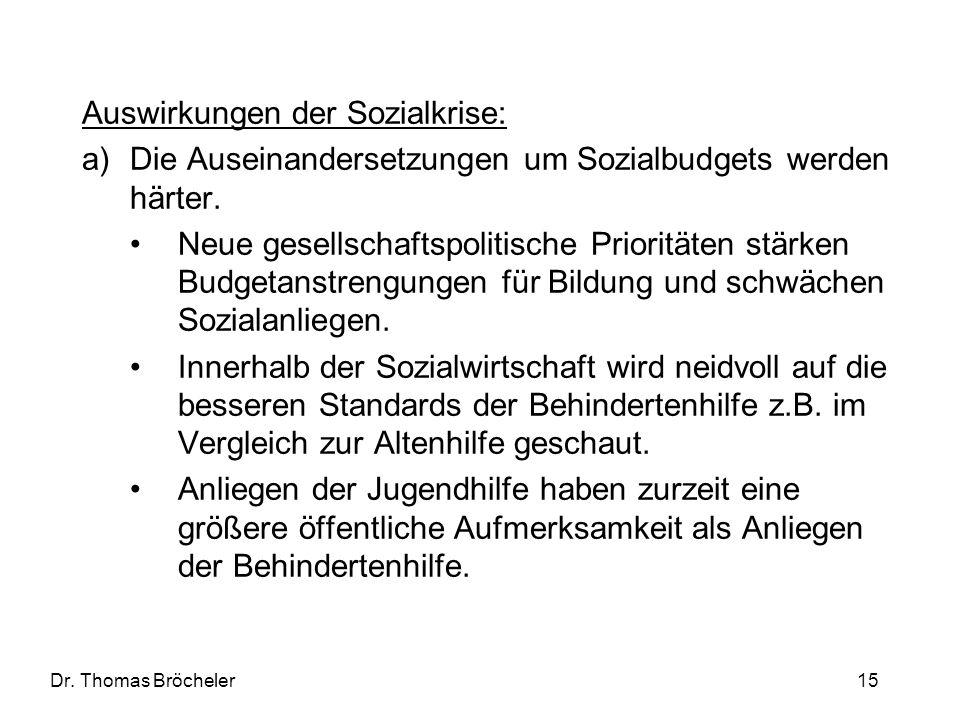 Dr. Thomas Bröcheler 15 Auswirkungen der Sozialkrise: a)Die Auseinandersetzungen um Sozialbudgets werden härter. Neue gesellschaftspolitische Prioritä