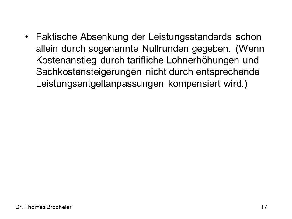 Dr. Thomas Bröcheler 17 Faktische Absenkung der Leistungsstandards schon allein durch sogenannte Nullrunden gegeben. (Wenn Kostenanstieg durch tarifli