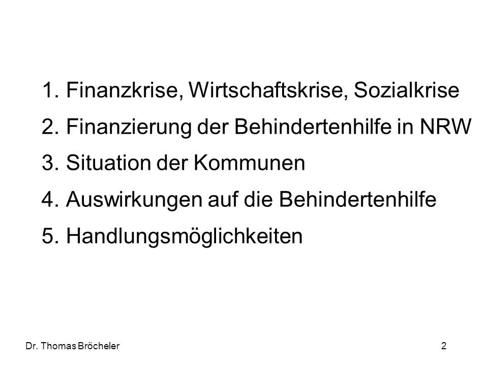 Dr. Thomas Bröcheler 2 1.Finanzkrise, Wirtschaftskrise, Sozialkrise 2.Finanzierung der Behindertenhilfe in NRW 3.Situation der Kommunen 4.Auswirkungen